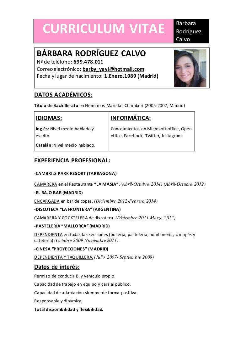 Moderno Ejemplo De Currículum Para La Camarera Del Restaurante ...