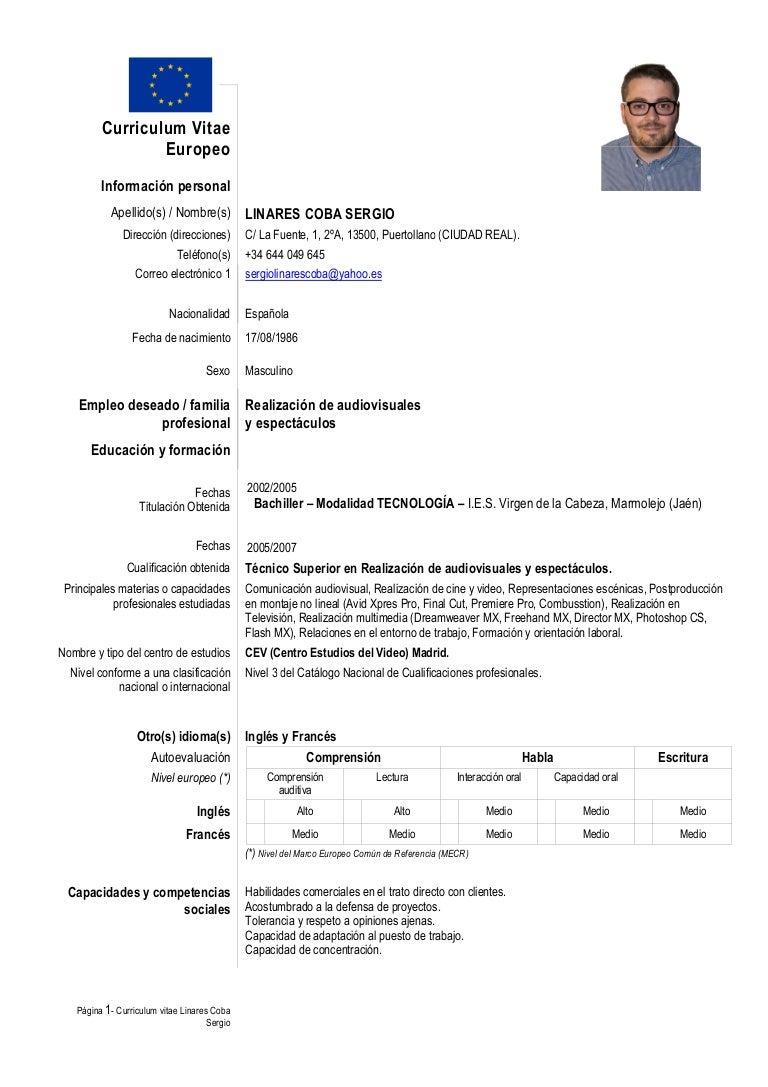 Curriculum Europeo de Sergio Linares Coba
