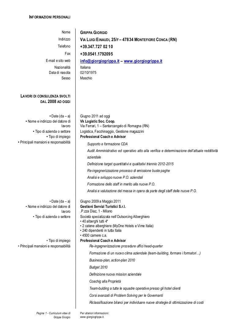 curriculum vitae ragioniere programmatore esempio