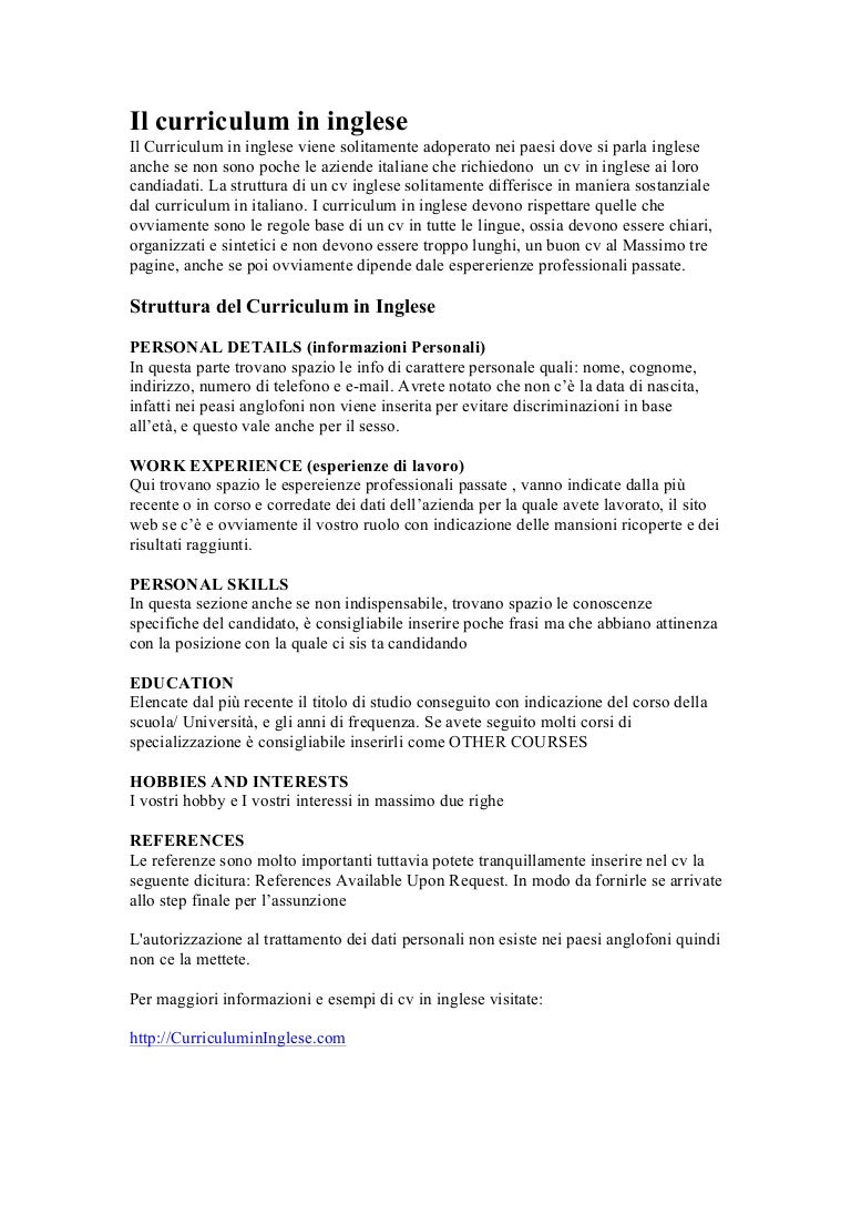 Scrivere Un Curriculum In Inglese