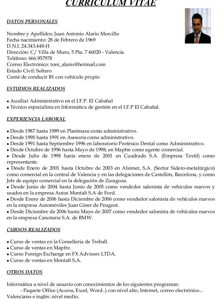 Curriculum Juan Antonio Alario