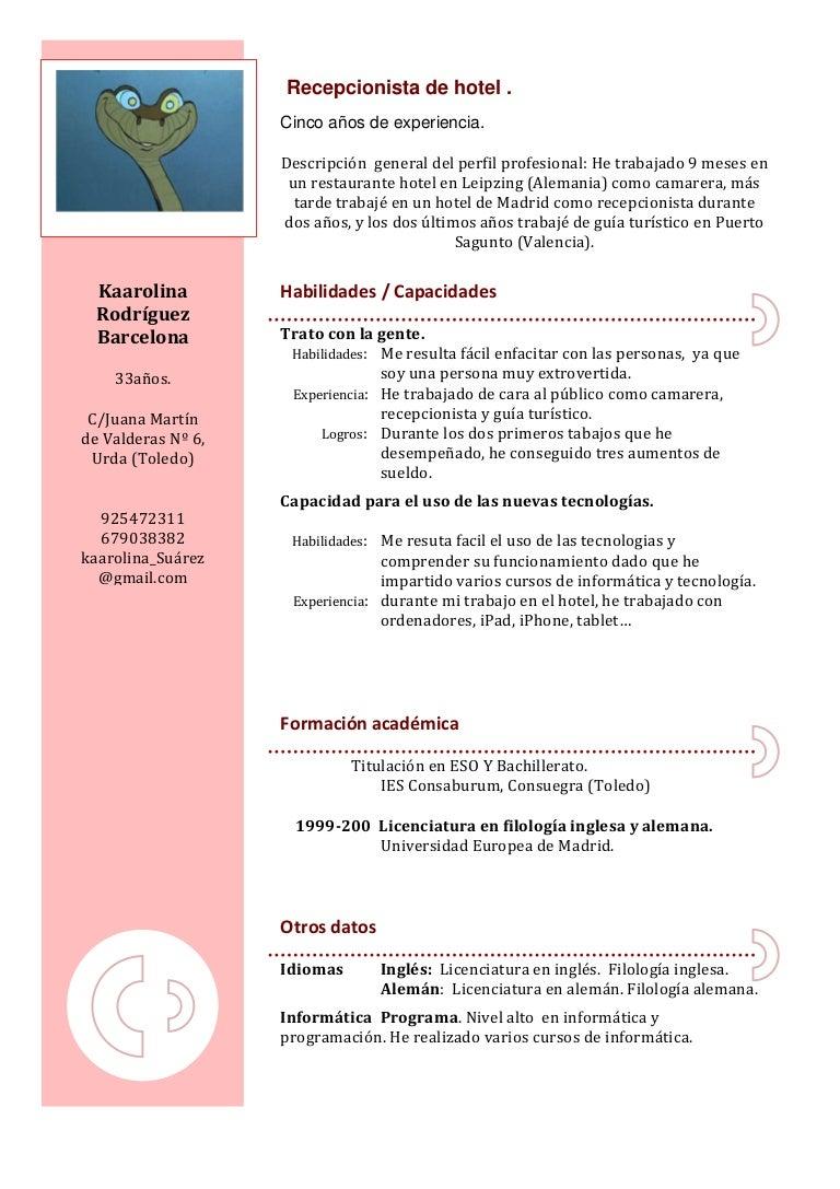 Fantástico Ejemplo De Currículum De Hotel De Recepción Friso ...