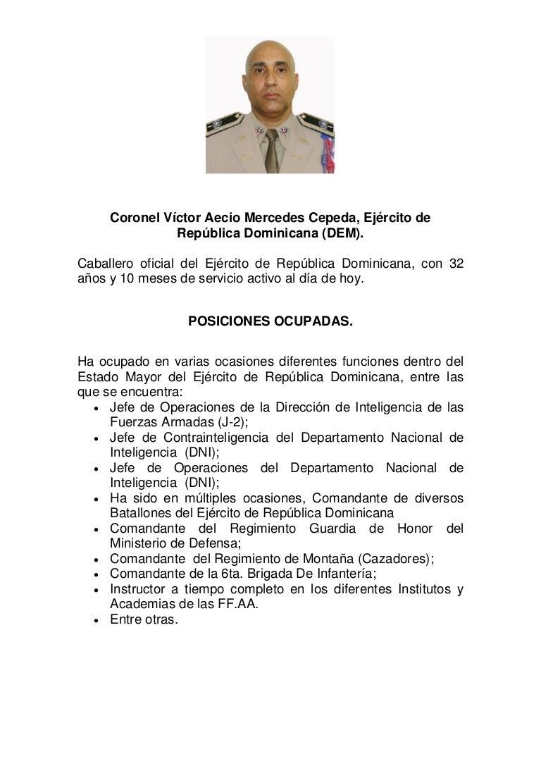CURRICULUM VITAE DE Coronel Víctor Aecio Mercedes Cepeda, Ejército de…