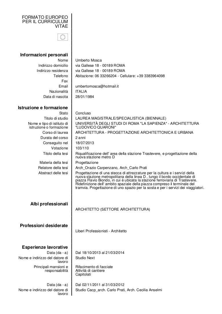 Curriculum Umberto Mosca