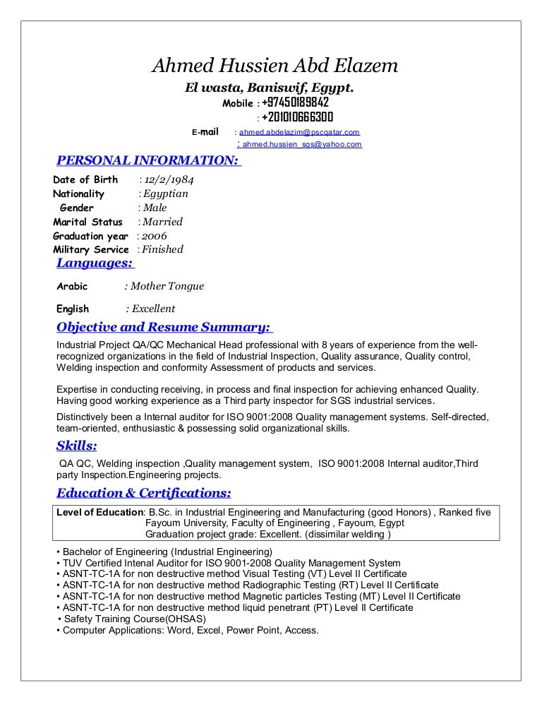 Qa Resume Sample | Sample Resume And Free Resume Templates