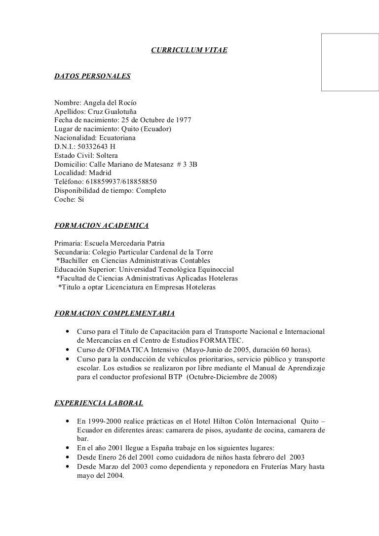 Curriculum Vitae Angela Cruz Gualotuña