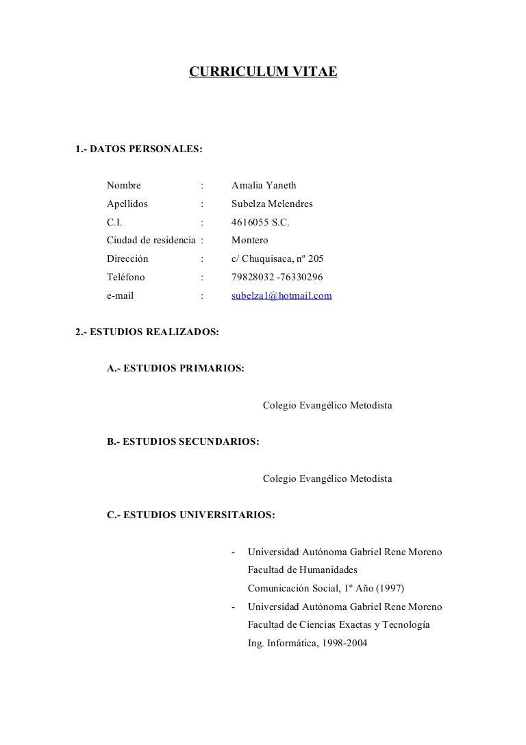 Curriculum Vitae Mia