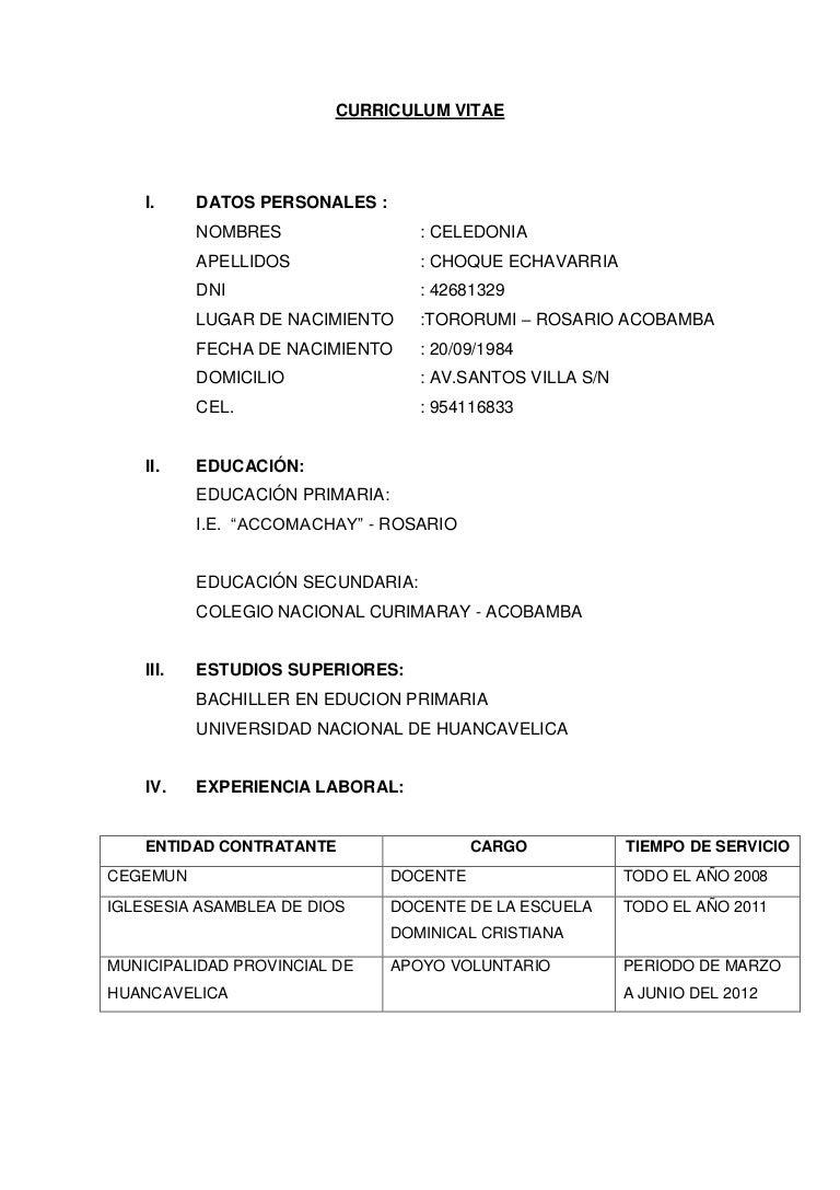 Encantador Curriculum Vitae Proforma Para La Enseñanza Componente ...