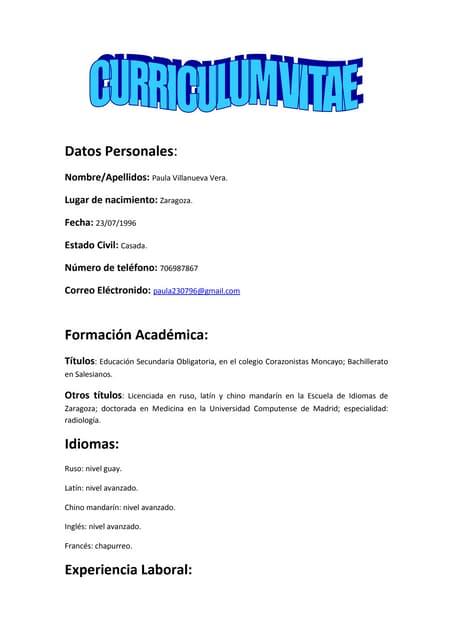 Plantilla Curriculum Vitae Basico