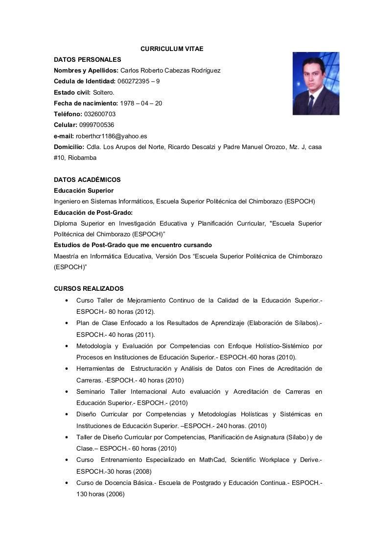 Curriculum vitae Carlos Cabezas