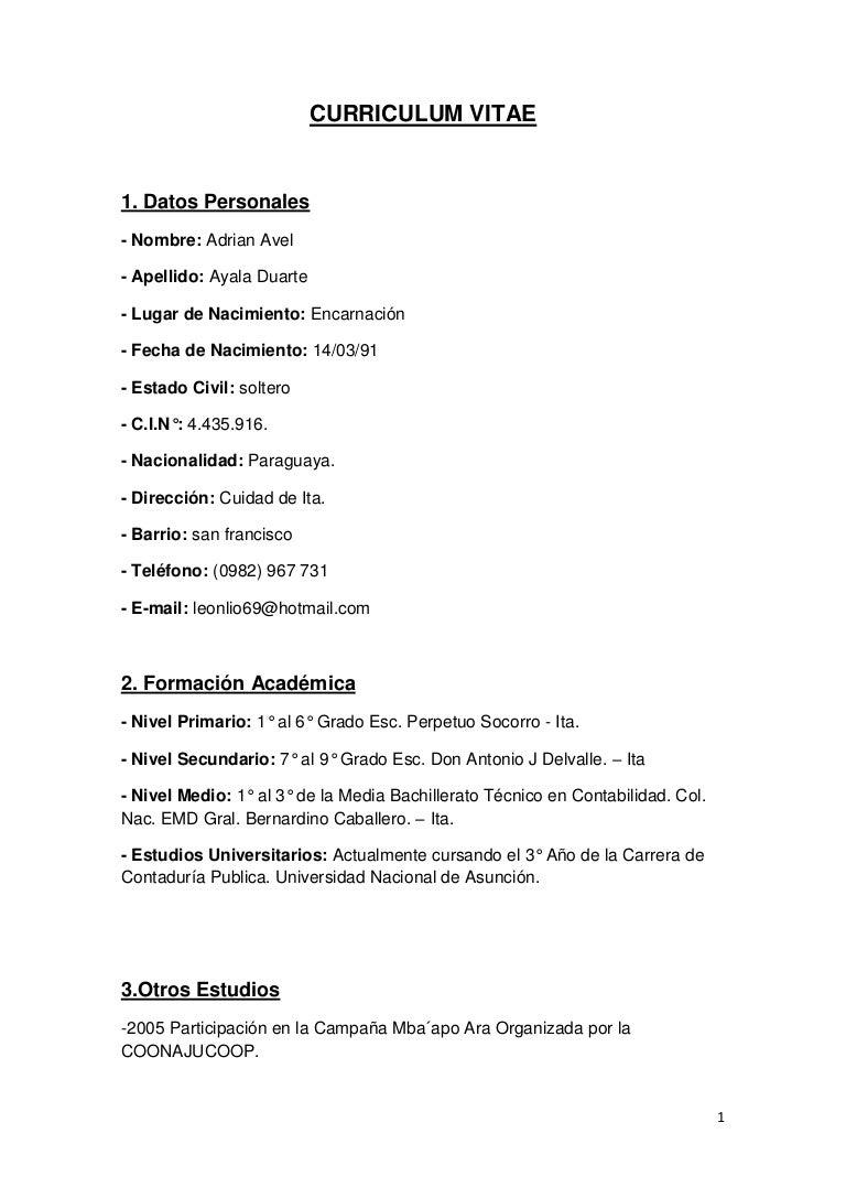 Curriculum vitae Pedro Guillermo Adorno