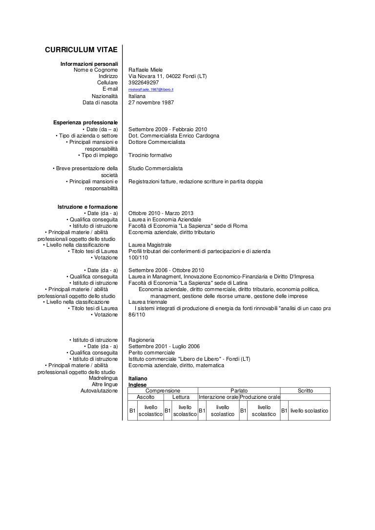 Curriculum Vitae Raffaele Miele