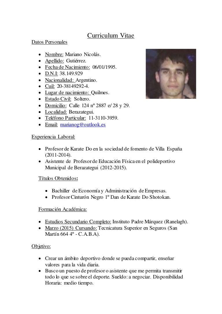 Curriculum Vitae Mariano Nicolas