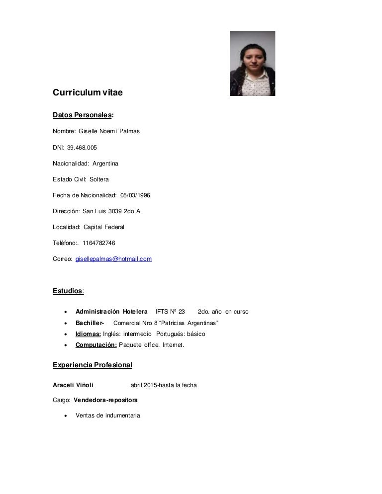 Curriculum Vitae Gisellepalmas