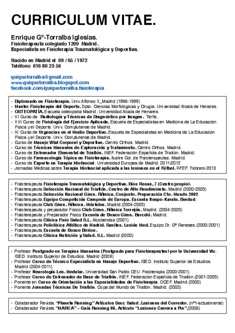 Curriculum Vitae. Enrique Gª-Torralba Iglesias.