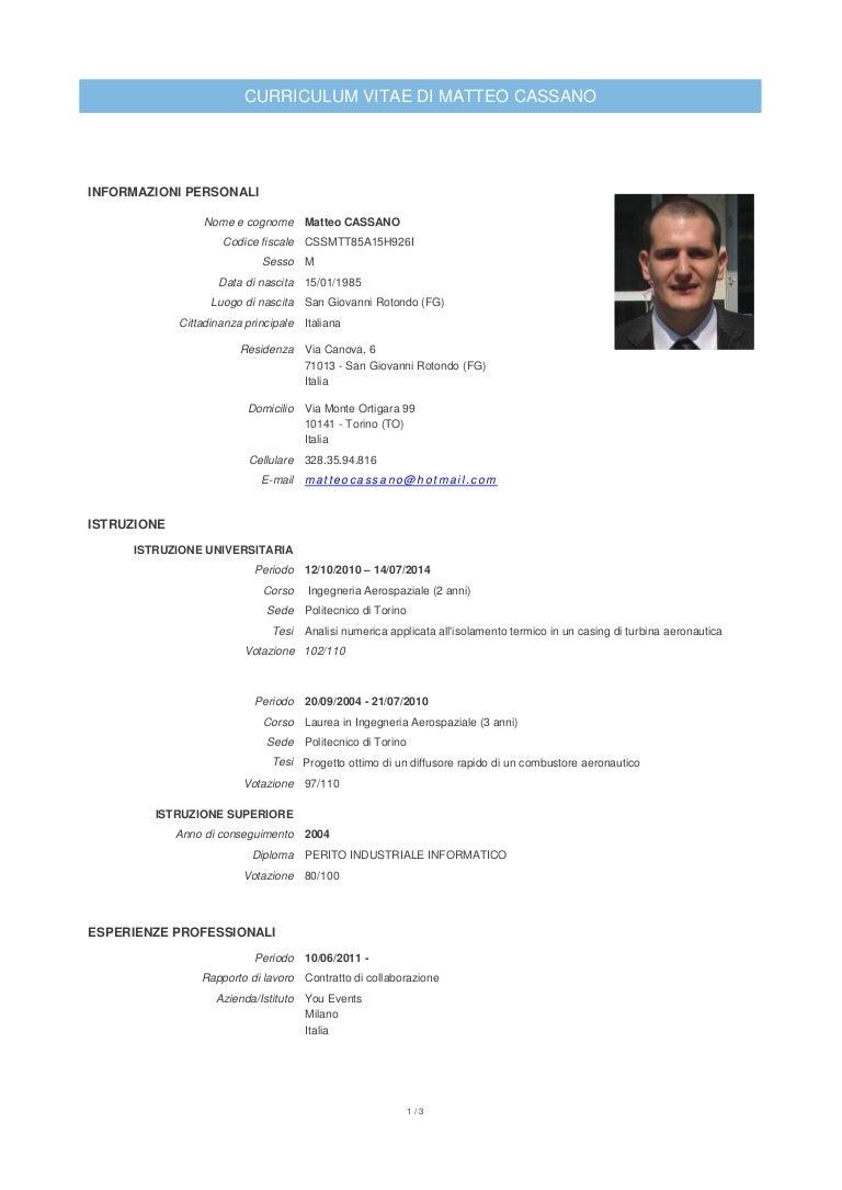 Curriculum Vitae Cassano Matteo