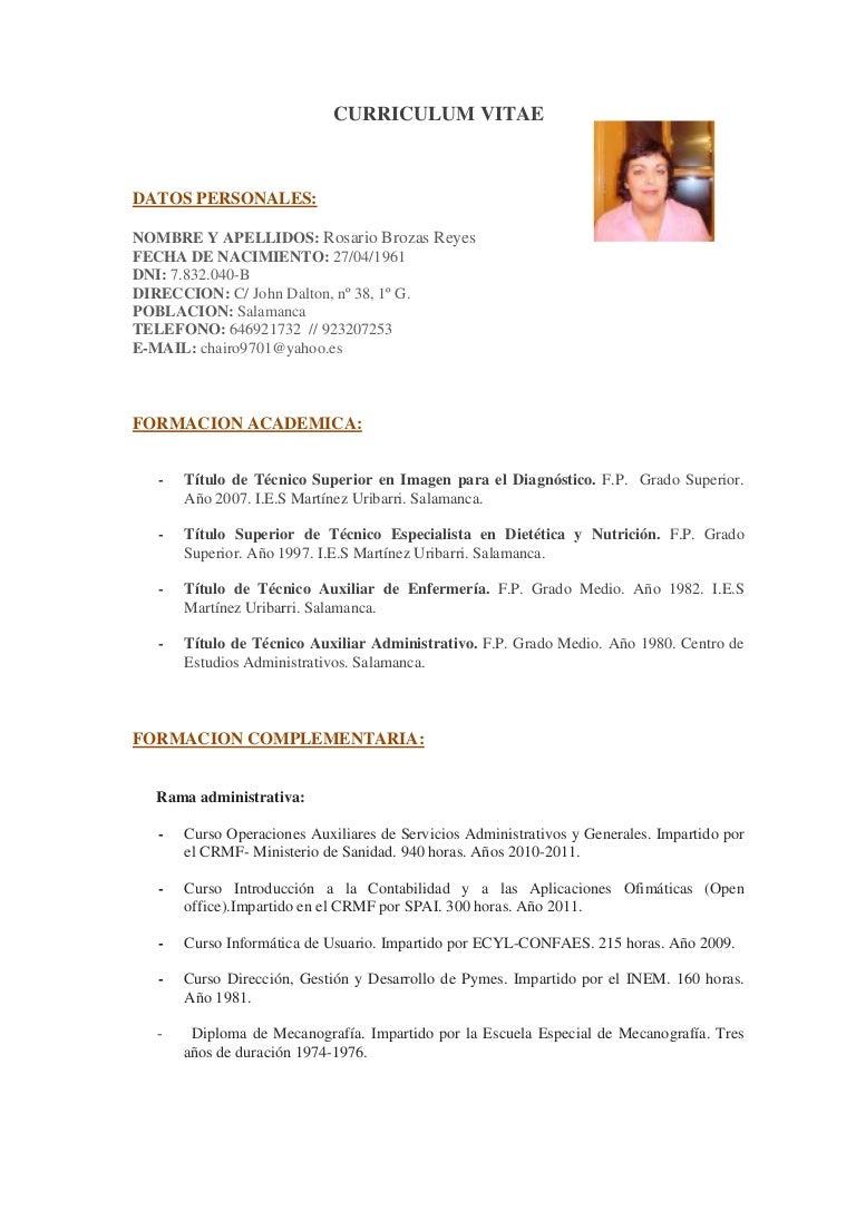 Rosario Brozas Reyes. c.v.
