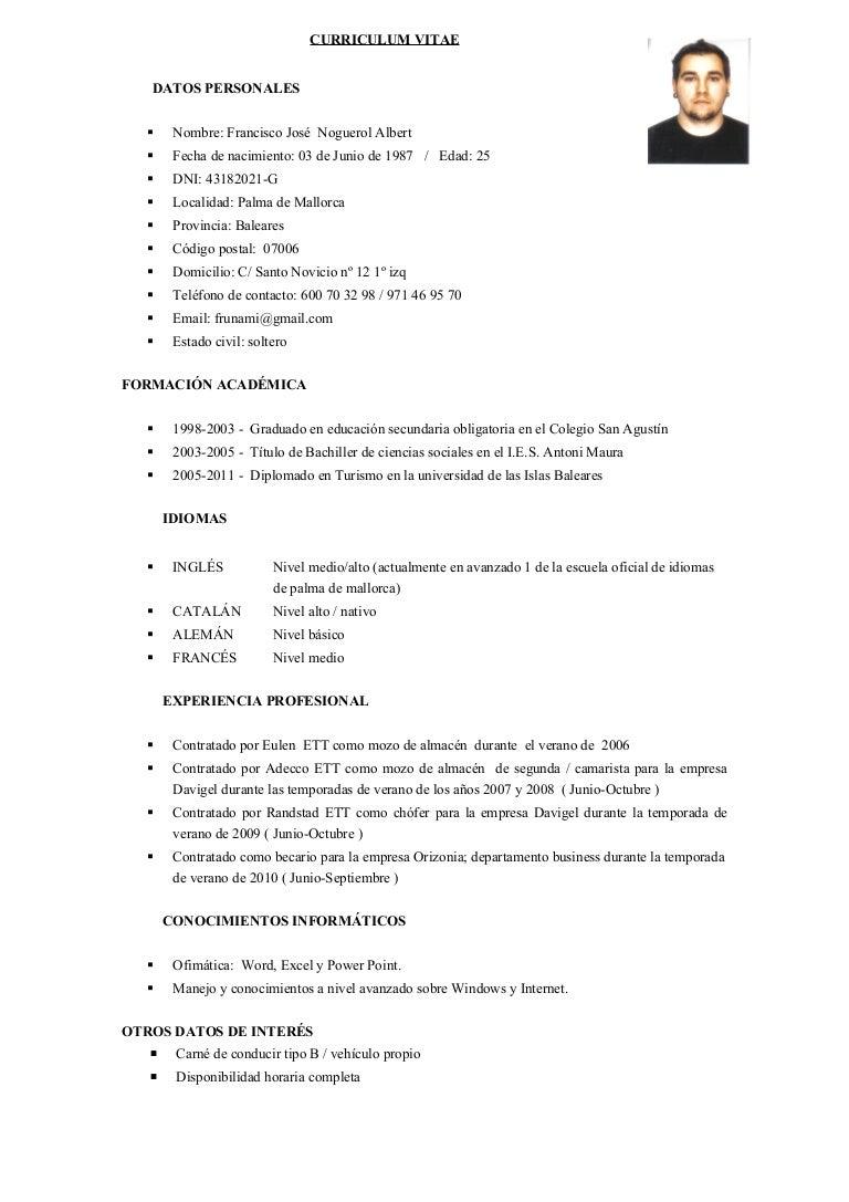 Asombroso Ejemplo De Curriculum Vitae De Secundaria Imagen - Ejemplo ...