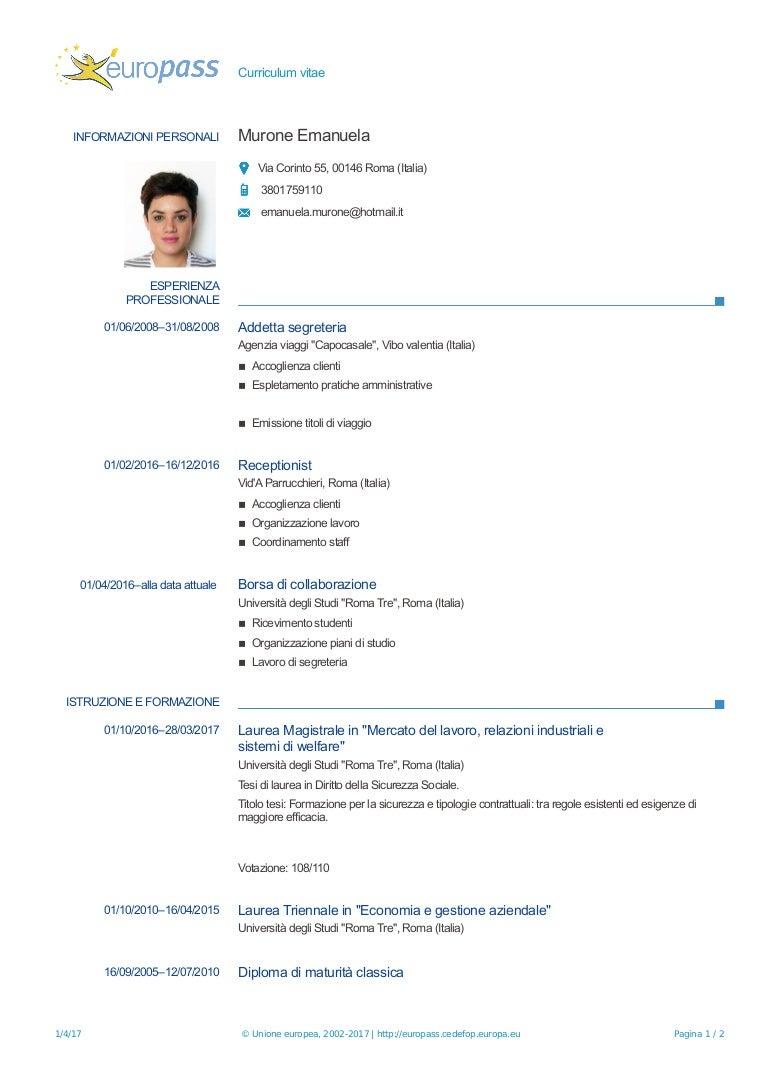 Curriculum Vitae Emanuela Murone