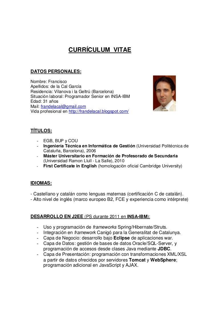 Curriculum Vitae - Fran de la Cal