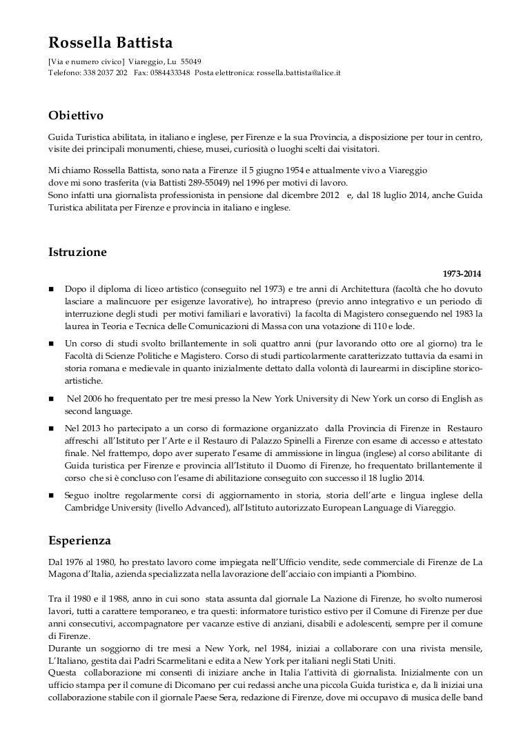Curriculum Vitae Nuova Guida Turistica Firenze