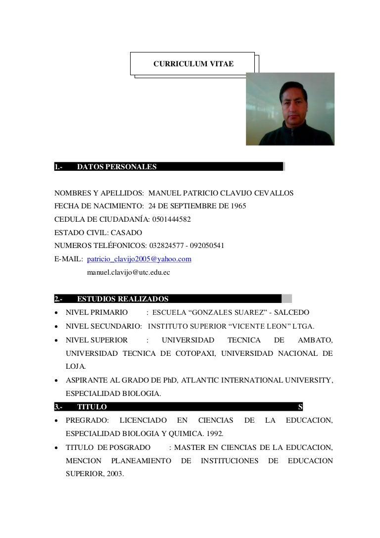 Curriculum vitae Patricio Clavijo