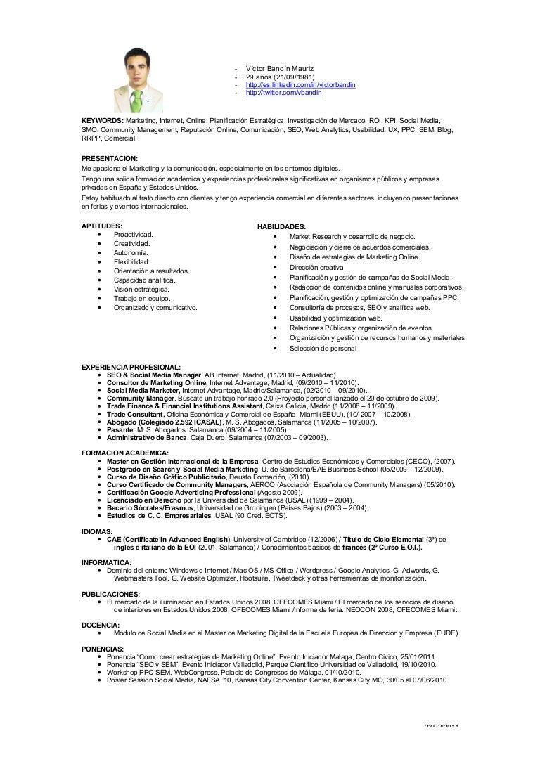 Curriculum Vitae SEO & Social Media Manager