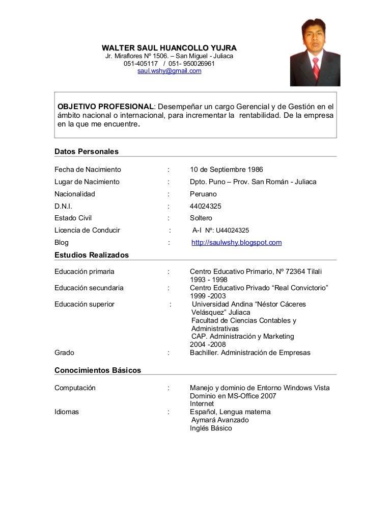 Curriculum Vitae Walter Saul Huancollo Yujra