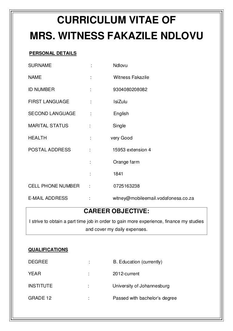 curriculum vite for witney - Circulam Vite