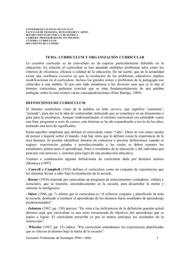 Curriculum y organizacón curricular