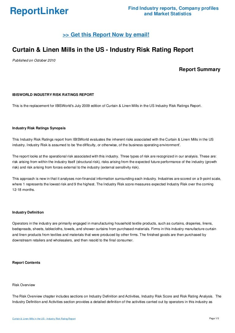 Curtain & Linen Mills in the US - Industry Risk Rating Report