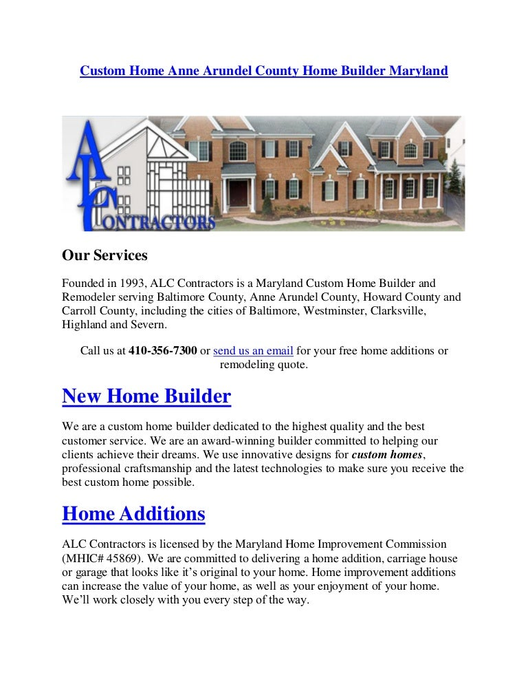 Custom Home Anne Arundel County Home Builder Maryland