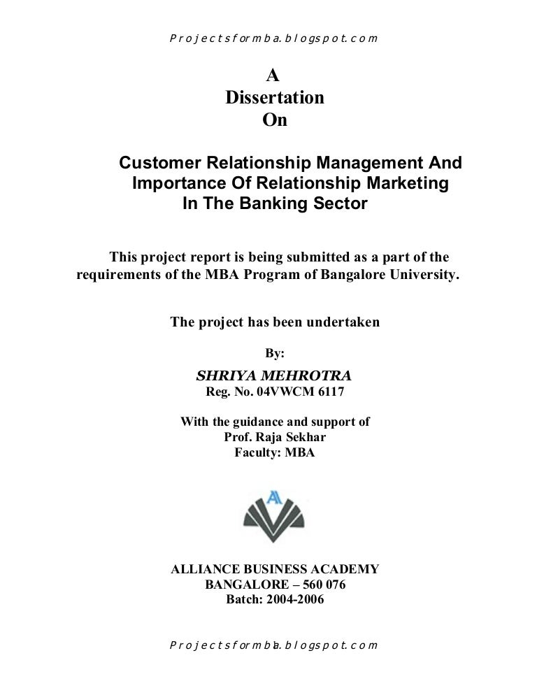 Thesis on customer relationship management in banks