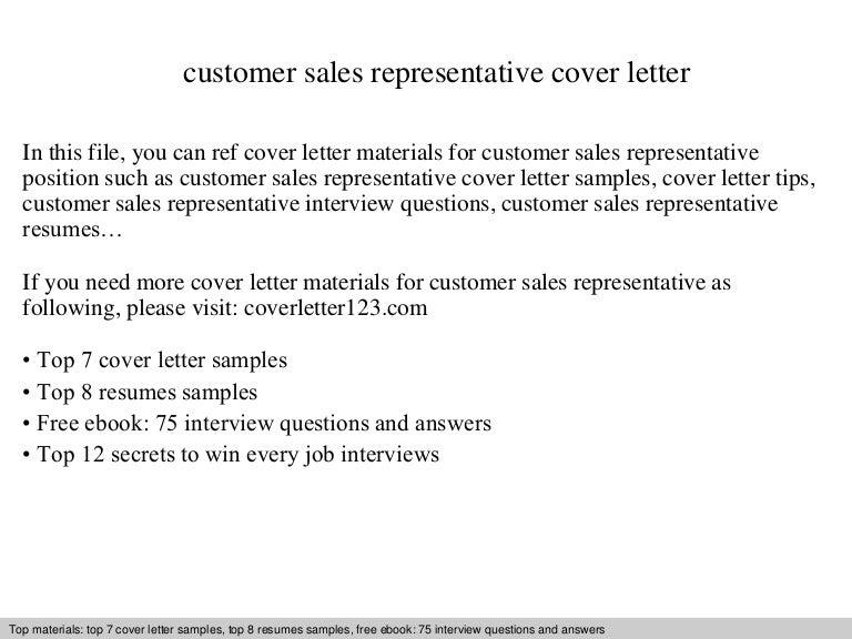 customer sales representative cover letter. Resume Example. Resume CV Cover Letter