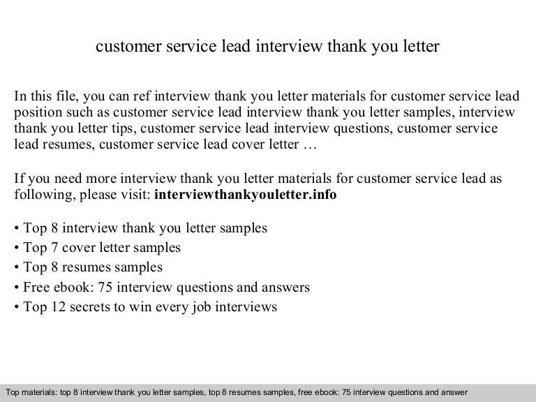 Customer service lead