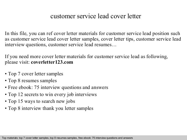 customer service lead cover letter - Cover Letter For Customer Service Sample