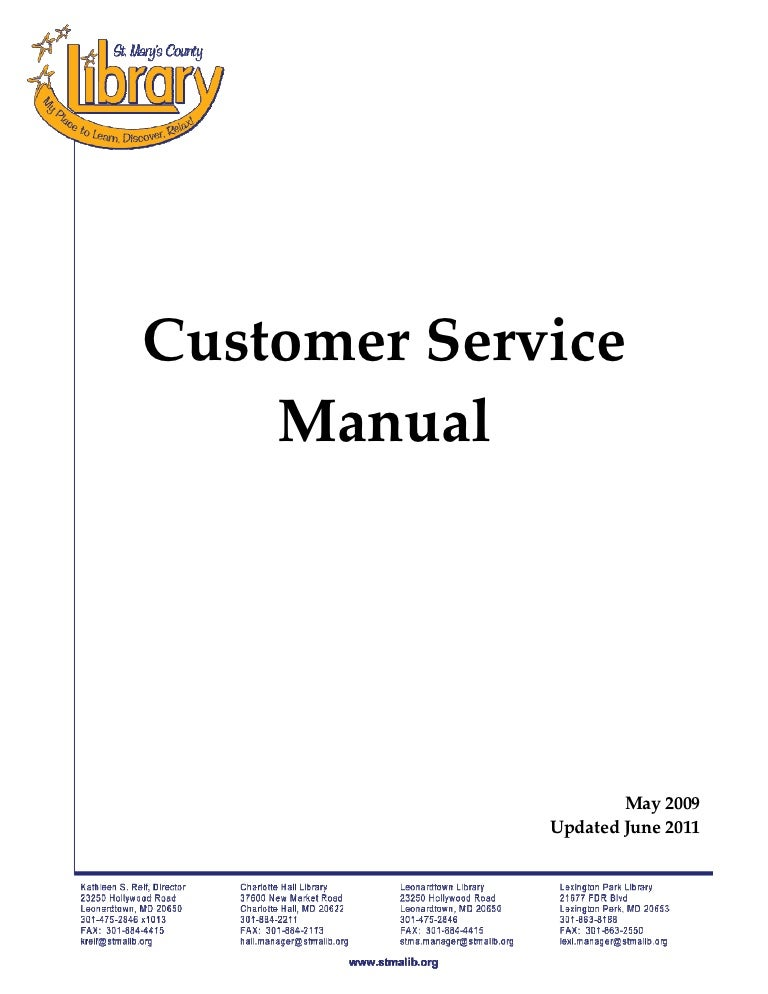 Customer Service Policy Manual Un