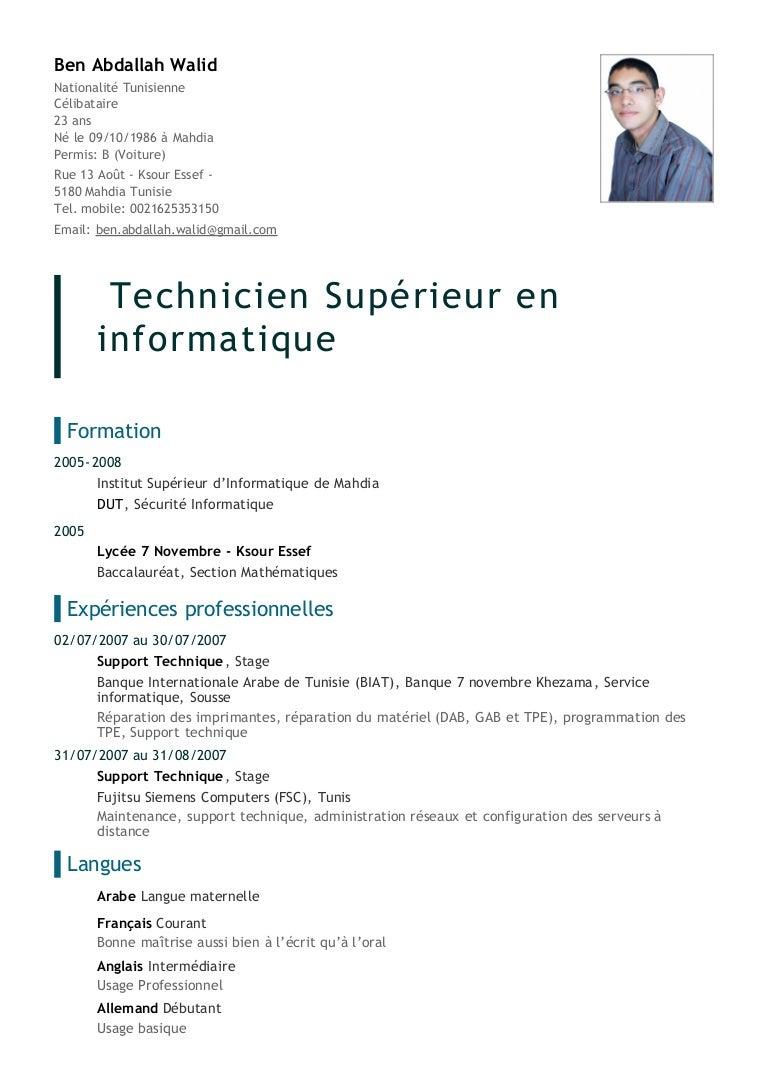lettre exemples: Cv Dun Technicien En Informatique