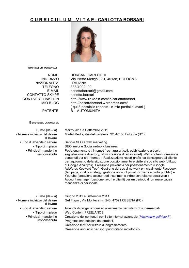 Curriculum Vitae Carlotta Borsari