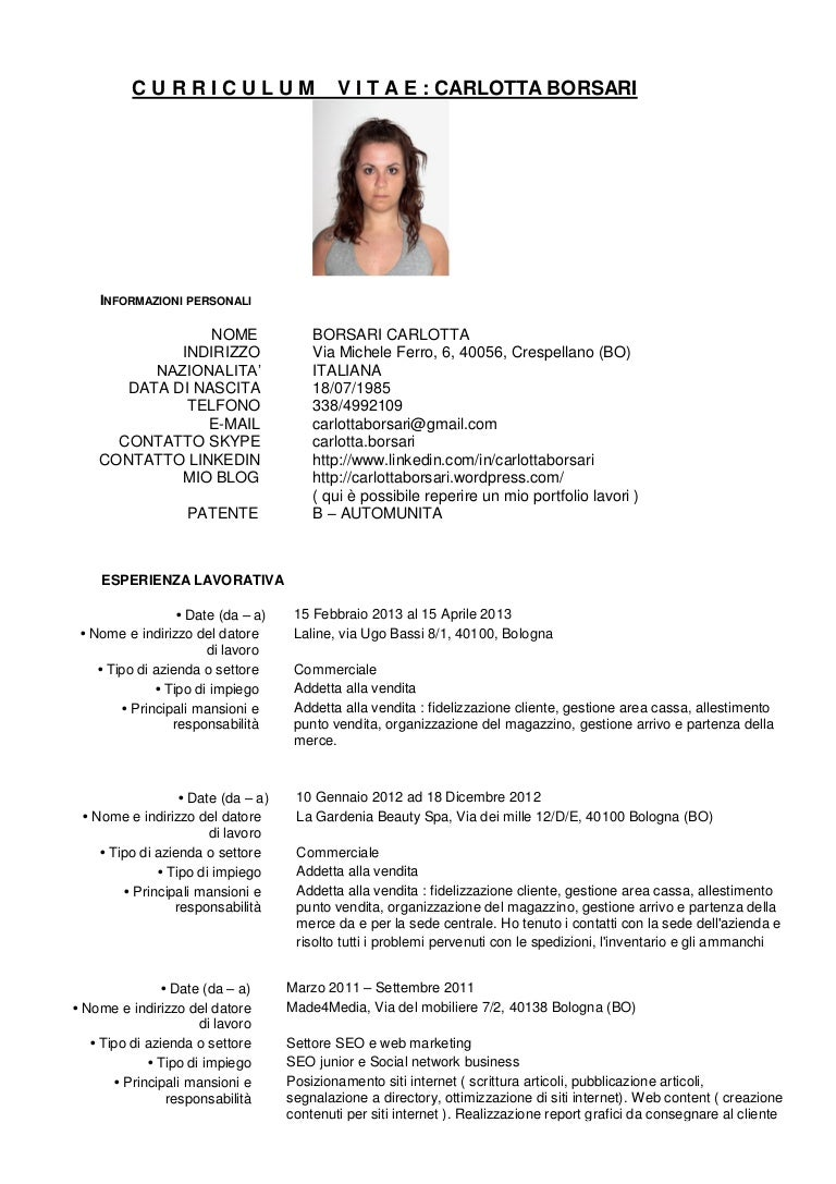 Curriculum Vitae Carlotta Borsari. Application For Job Mail. Cover Letter Template Word Mac. Relocation Job Cover Letter Template. Resume Summary Vs Profile. Cv Template Modern Free Word. Cover Letter For Optometrist Cv. Ejemplo De Curriculum Vitae Profesional En Guatemala. Resume Job Timeline
