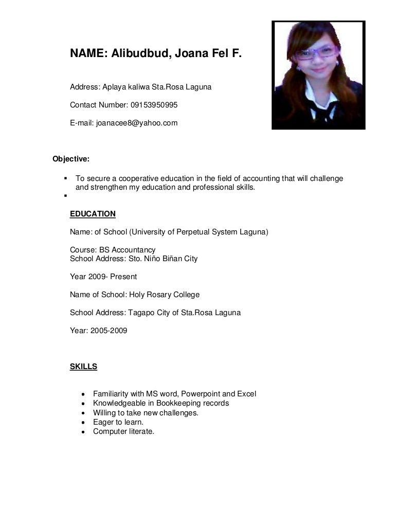 Sample resume for ojt management accounting students resume resume sample resume for ojt management accounting students sample resume for ojt applicants accounting students frizzigame yelopaper Image collections