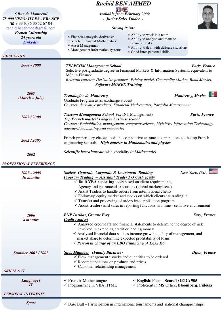 senior equity trader resume