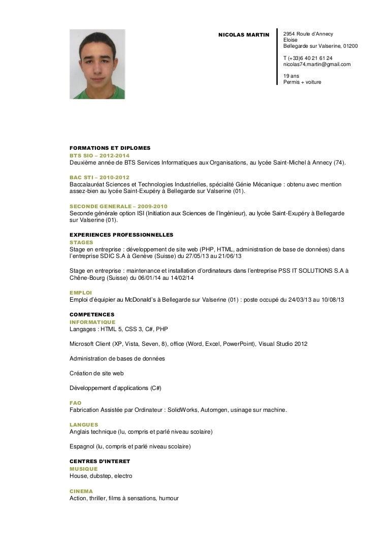 Exemple De Cv Pour Footlocker - CV pour un stage : comment ...