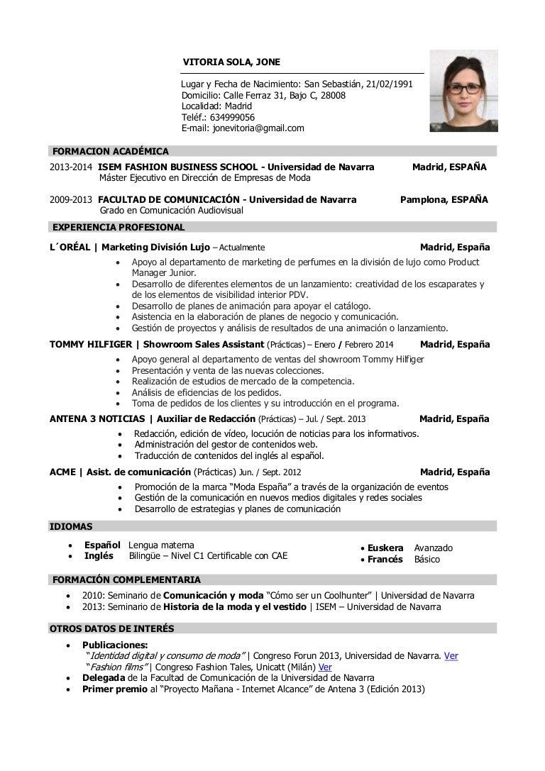 Jone Vitoria Sola - Currículum Vitae