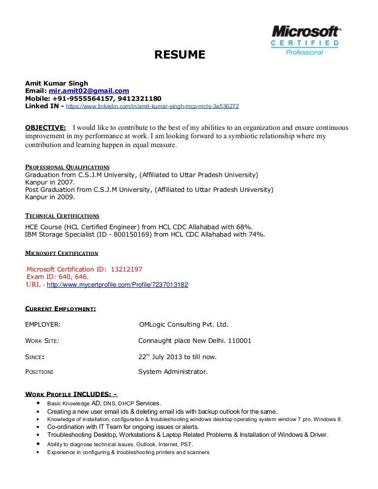 Cv Amit Microsoft Certified