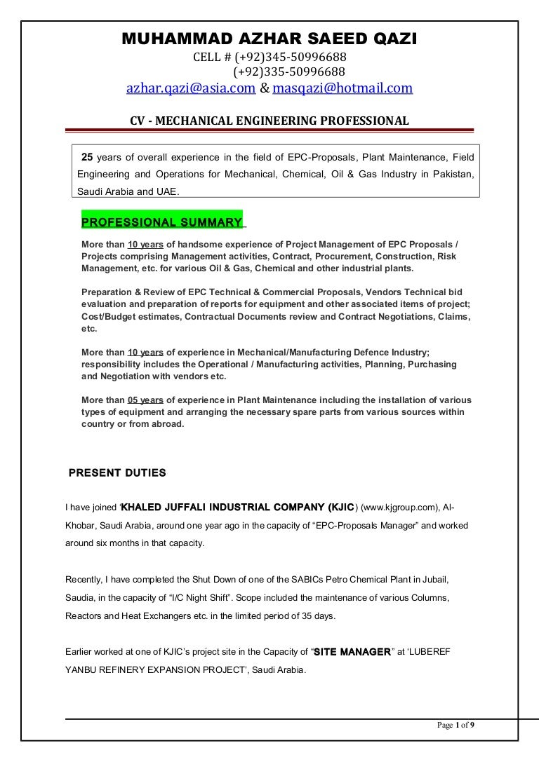 Cv Mechanical Engineer Epc Proposals Manager