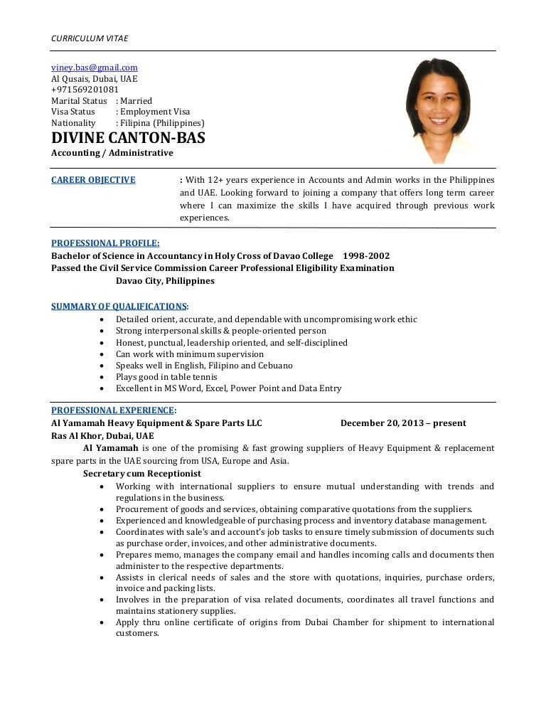 Unique Resume In Dubai Accounts Pattern - Administrative Officer ...