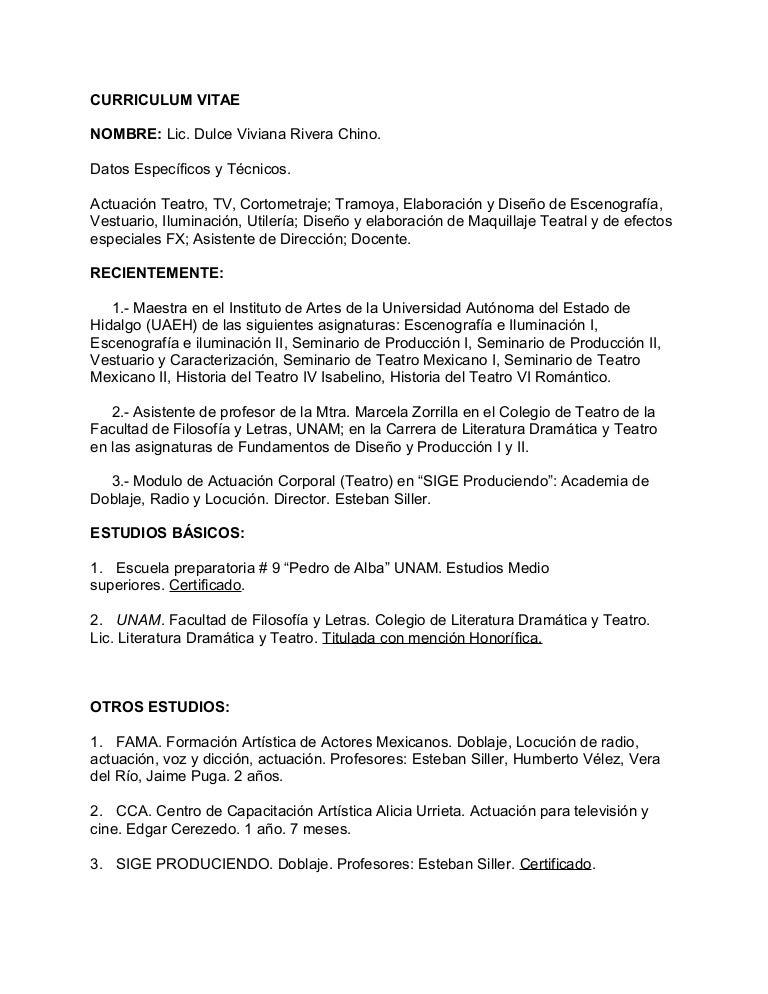 CV Dulce Rivera Chino - 2013