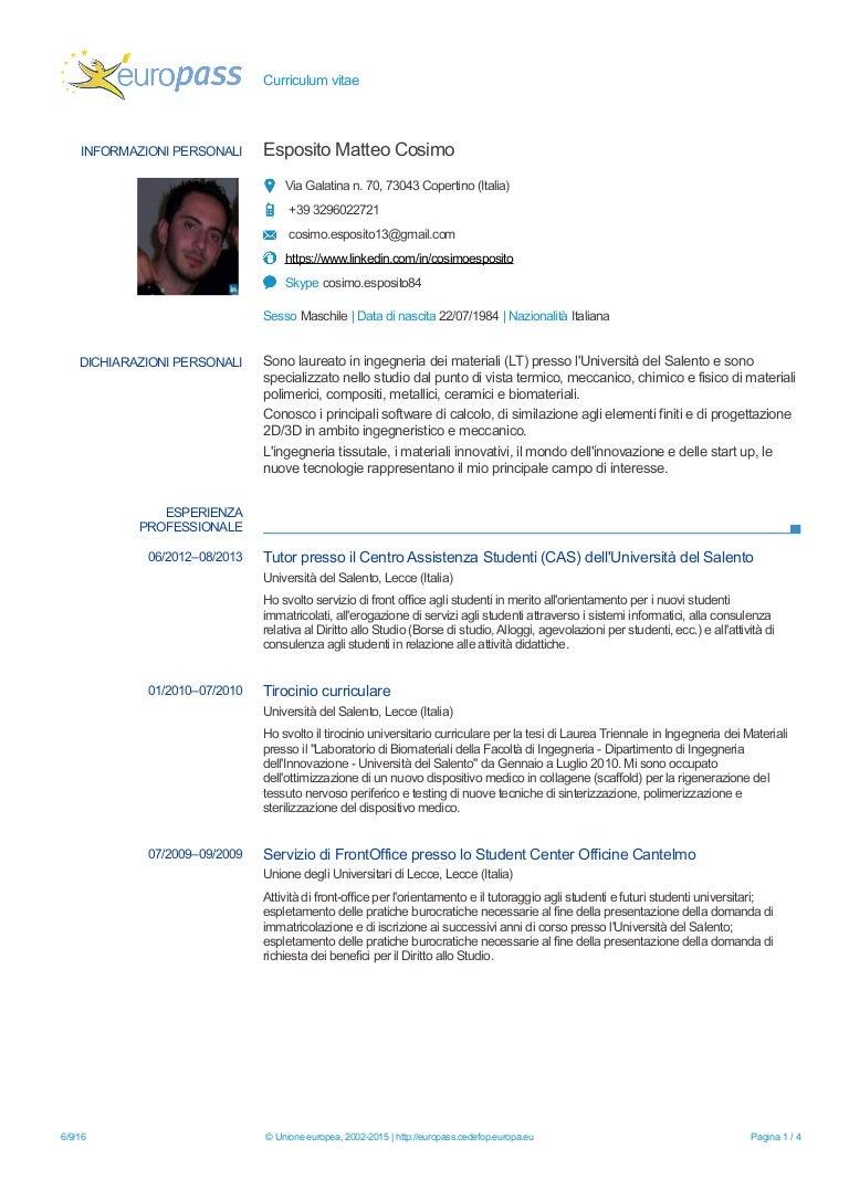Curriculum Vitae Di Cosimo Esposito