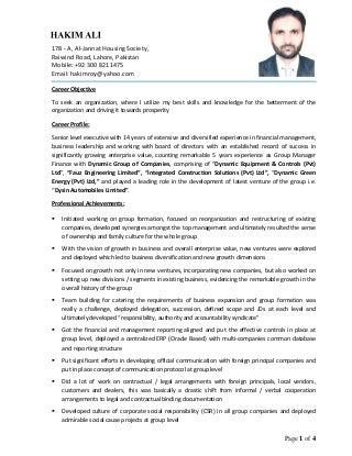 manager in finance   linkedincv   hakim ali   group manager finance